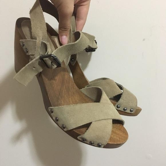 7c48a6af103b8 Saks Fifth Avenue Shoes - wooden clog sandal open toe wedges
